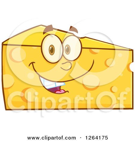 Clipart of a Happy Cheese Wedge Character - Royalty Free Vector Illustration by Hit Toon