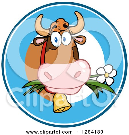 Clipart of a Cow Eating a Daisy Logo - Royalty Free Vector Illustration by Hit Toon