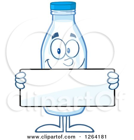 Clipart of a Milk Bottle Character Holding a Blank Sign - Royalty Free Vector Illustration by Hit Toon