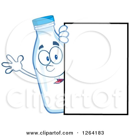 Clipart of a Milk Bottle Character Waving Around a Blank Sign - Royalty Free Vector Illustration by Hit Toon