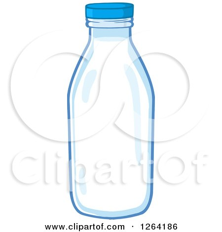 Clipart of a Milk Bottle - Royalty Free Vector Illustration by Hit Toon