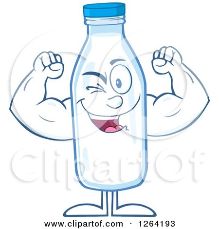 Clipart of a Milk Bottle Character Flexing - Royalty Free Vector Illustration by Hit Toon