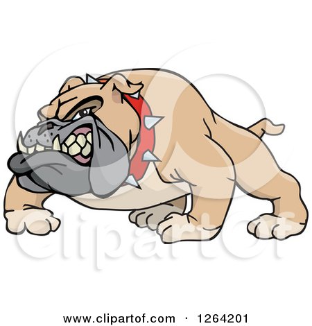 Clipart of a Tough Snarling Brown Bulldog - Royalty Free Vector Illustration by Dennis Holmes Designs