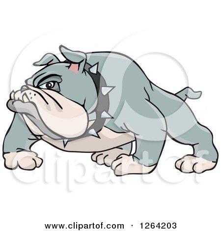 Clipart of a Tough Gray Bulldog - Royalty Free Vector Illustration by Dennis Holmes Designs