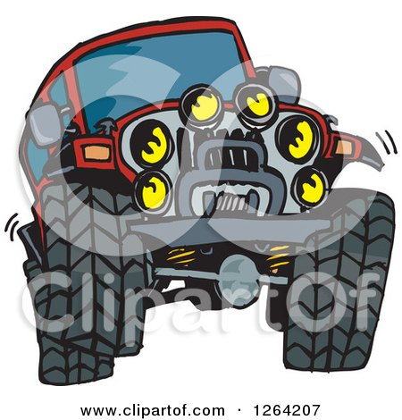 Clipart of a Red Jeep Wrangler Vehicle Catching Air - Royalty Free Vector Illustration by Dennis Holmes Designs