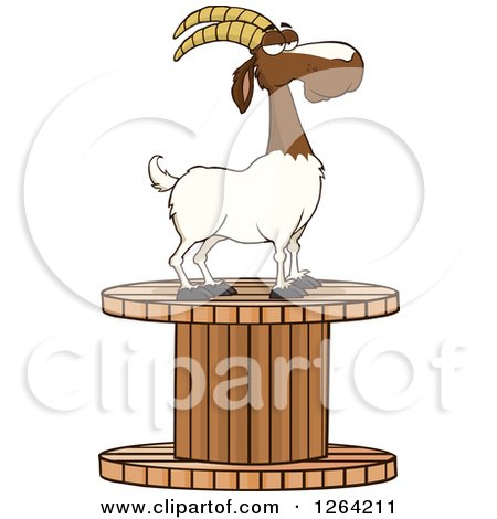 Clipart of a Red and White Male Boer Goat Wether on a Giant Spool - Royalty Free Vector Illustration by Hit Toon