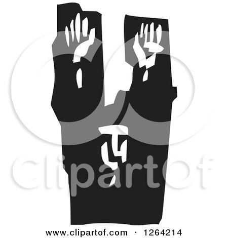 Clipart of a Black and White Woodcut Prisoner Surrendering with Arms Raised - Royalty Free Vector Illustration by xunantunich