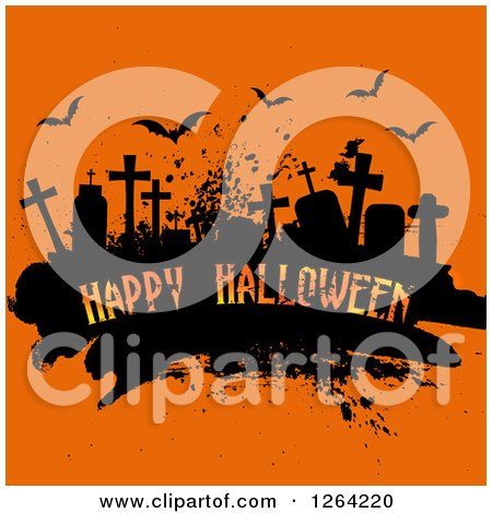 Grunge Cemetery Scene with Happy Halloween Text and Bats on Orange Posters, Art Prints
