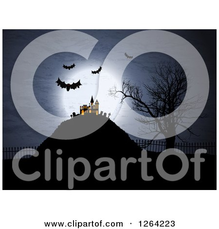 Clipart of a Lit up Haunted Halloween Mansion with Bampire Bats and a Full Moon - Royalty Free Vector Illustration by KJ Pargeter