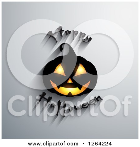 Clipart of a 3d Jackolantern Pumpkin with Happy Halloween Text and Shadows on Gray - Royalty Free Vector Illustration by KJ Pargeter