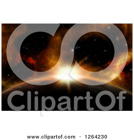 Clipart of a 3d Sun Rising over a Fictional Planet - Royalty Free Illustration by KJ Pargeter