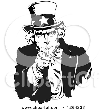 Clipart of a Black and White Uncle Sam Pointing Outwards - Royalty Free Vector Illustration by Dennis Holmes Designs