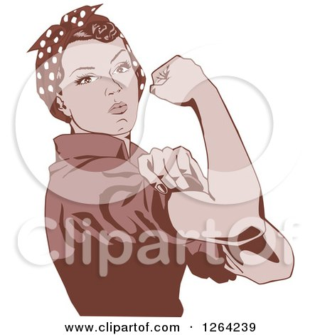 Clipart of a Sepia Rosie the Riveter Flexing and Facing Right - Royalty Free Vector Illustration by Dennis Holmes Designs