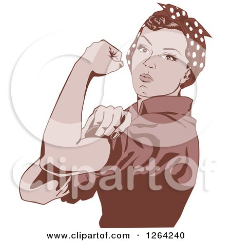 Clipart of a Sepia Rosie the Riveter Flexing and Facing Left - Royalty Free Vector Illustration by Dennis Holmes Designs