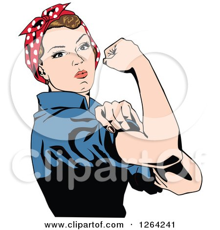 Clipart of a Rosie the Riveter Flexing and Facing Right - Royalty Free Vector Illustration by Dennis Holmes Designs