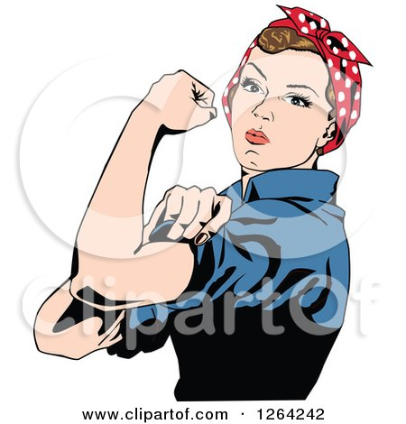 Clipart of a Rosie the Riveter Flexing and Facing Left - Royalty Free Vector Illustration by Dennis Holmes Designs