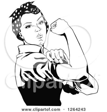 Clipart of a Black and White Rosie the Riveter Flexing and Facing Right - Royalty Free Vector Illustration by Dennis Holmes Designs