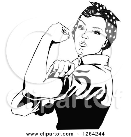 Clipart of a Black and White Rosie the Riveter Flexing and Facing Left - Royalty Free Vector Illustration by Dennis Holmes Designs