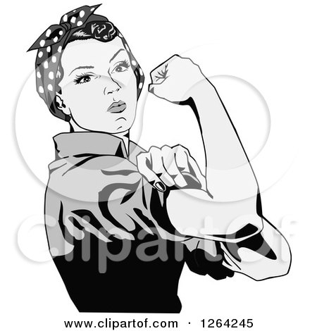 Clipart of a Grayscale Rosie the Riveter Flexing and Facing Right - Royalty Free Vector Illustration by Dennis Holmes Designs