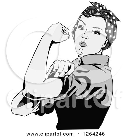 Clipart of a Grayscale Rosie the Riveter Flexing and Facing Left - Royalty Free Vector Illustration by Dennis Holmes Designs