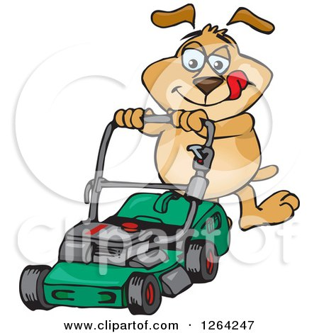 Clipart of a Sparkey Dog Pushing a Green Lawn Mower - Royalty Free Vector Illustration by Dennis Holmes Designs
