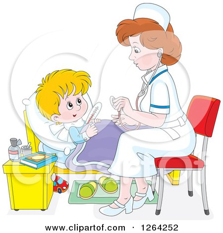 Clipart of a Sick Caucasian Boy and Female Nurse - Royalty Free Vector Illustration by Alex Bannykh