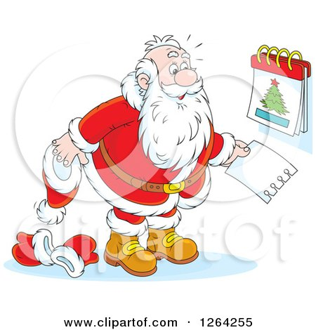 Clipart of Santa Revealing Christmas Day on a Calendar - Royalty Free Vector Illustration by Alex Bannykh