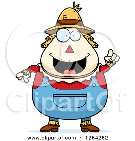 Clipart of a Happy Cartoon Chubby Scarecrow with an Idea - Royalty Free Vector Illustration by Cory Thoman