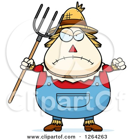 Clipart Of A Mad Cartoon Chubby Scarecrow Holding Up A Fist And Pitchfork Royalty Free Vector Illustration