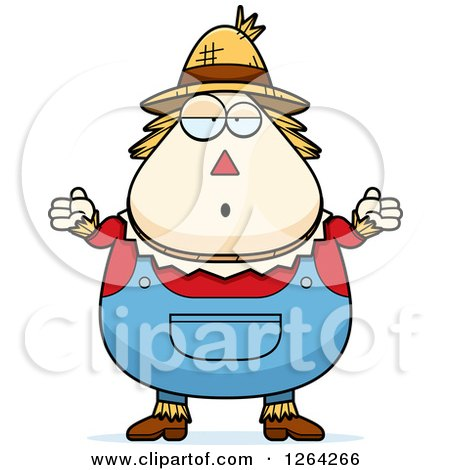 Clipart of a Careless Shrugging Cartoon Chubby Scarecrow - Royalty Free Vector Illustration by Cory Thoman