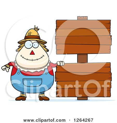 Clipart of a Happy Cartoon Chubby Scarecrow with Wood Signs - Royalty Free Vector Illustration by Cory Thoman