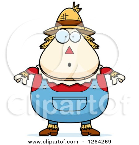 Clipart of a Surprised Gasping Cartoon Chubby Scarecrow - Royalty Free Vector Illustration by Cory Thoman