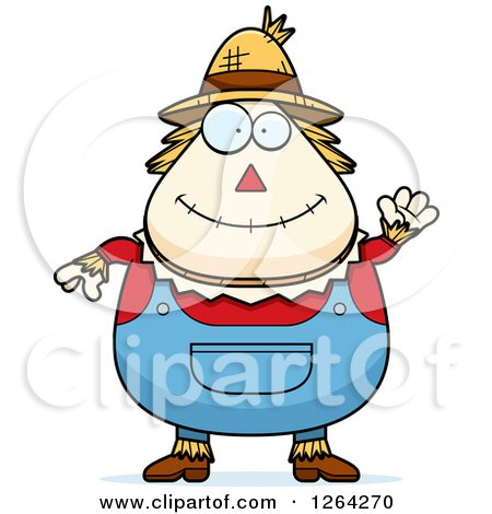Clipart of a Friendly Waving Cartoon Chubby Scarecrow - Royalty Free Vector Illustration by Cory Thoman