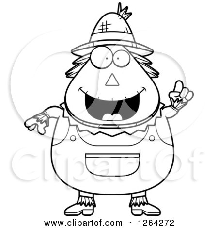 Clipart of a Black and White Happy Cartoon Chubby Scarecrow with an Idea - Royalty Free Vector Illustration by Cory Thoman
