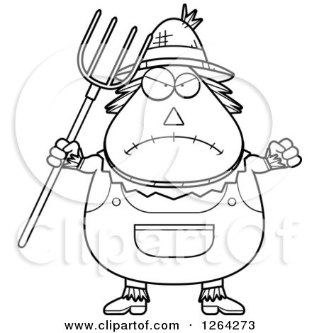 Clipart of a Black and White Mad Cartoon Chubby Scarecrow Holding up a Fist and Pitchfork - Royalty Free Vector Illustration by Cory Thoman
