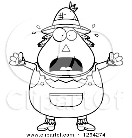 Clipart of a Black and White Scared Screaming Cartoon Chubby Scarecrow - Royalty Free Vector Illustration by Cory Thoman