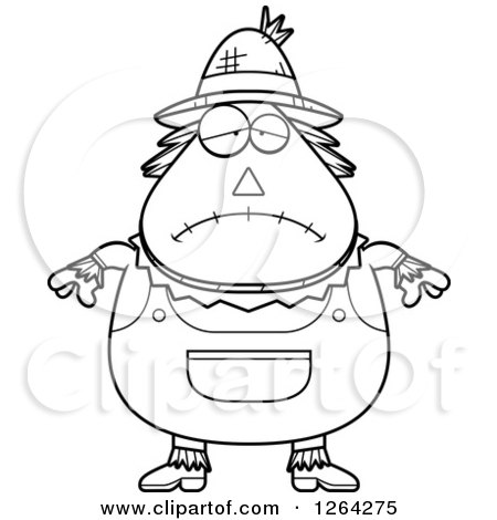 Clipart of a Black and White Sad Depressed Cartoon Chubby Scarecrow - Royalty Free Vector Illustration by Cory Thoman