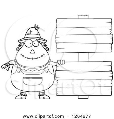 Clipart of a Black and White Happy Cartoon Chubby Scarecrow with Wood Signs - Royalty Free Vector Illustration by Cory Thoman