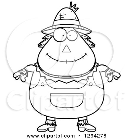 Clipart of a Black and White Happy Cartoon Chubby Scarecrow - Royalty Free Vector Illustration by Cory Thoman