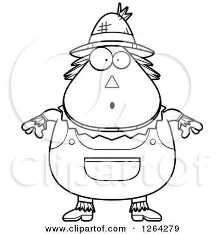 Clipart Of A Black And White Surprised Gasping Cartoon Chubby