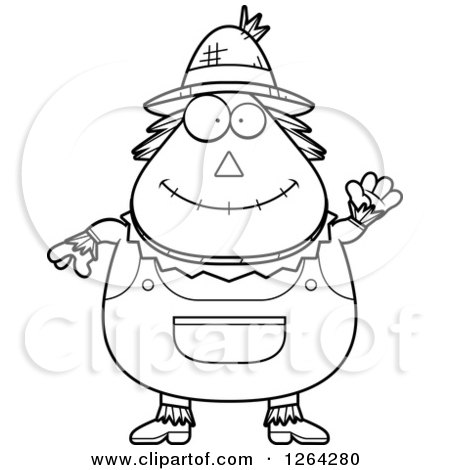 Clipart Of A Black And White Friendly Waving Cartoon Chubby