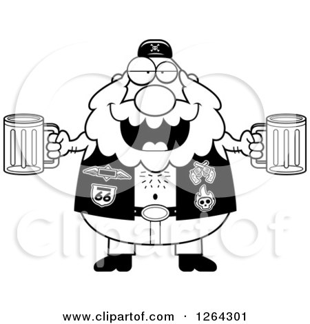 Clipart of a Black and White Chubby Biker Dude Holding Beers - Royalty Free Vector Illustration by Cory Thoman
