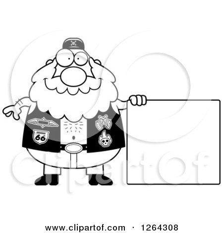Clipart of a Black and White Chubby Biker Dude with a Blank Sign - Royalty Free Vector Illustration by Cory Thoman