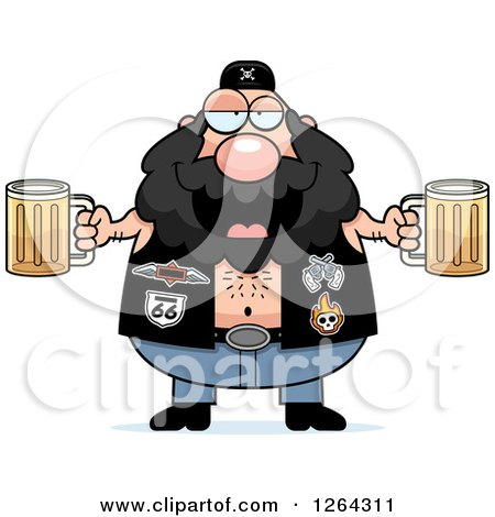 Clipart of a Chubby Caucasian Biker Dude Holding Beers - Royalty Free Vector Illustration by Cory Thoman