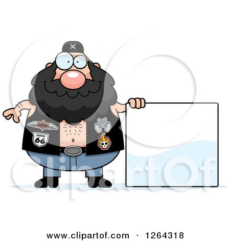 Clipart of a Chubby Caucasian Biker Dude with a Blank Sign - Royalty Free Vector Illustration by Cory Thoman