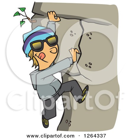 Clipart of a Cartoon Caucasian Boy Climbing a Mountain - Royalty Free Vector Illustration by toonaday