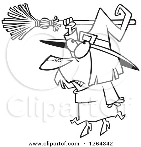 Clipart of a Black and White Cartoon Halloween Witch Hanging from Her Broomstick - Royalty Free Vector Illustration by toonaday