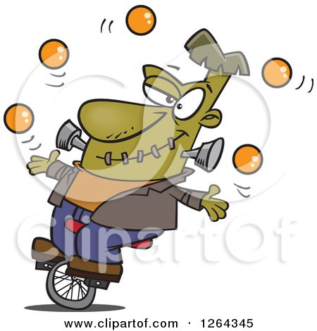 Clipart of a Cartoon Talented Frankenstein Juggling and Riding a Unicycle - Royalty Free Vector Illustration by toonaday