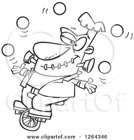 Black And White Cartoon Frankenstein Juggling Riding A Unicycle
