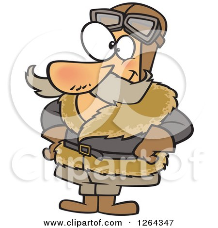 Clipart of a Cartoon Happy Vintage Caucasian Male Pilot - Royalty Free Vector Illustration by toonaday